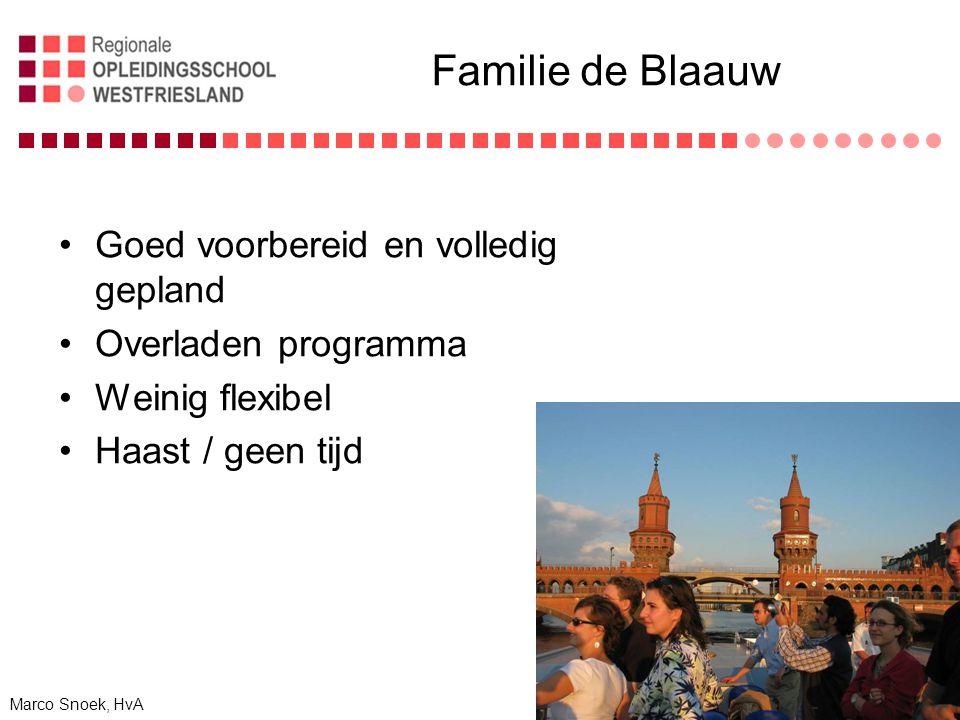 Familie de Blaauw Goed voorbereid en volledig gepland Overladen programma Weinig flexibel Haast / geen tijd Marco Snoek, HvA