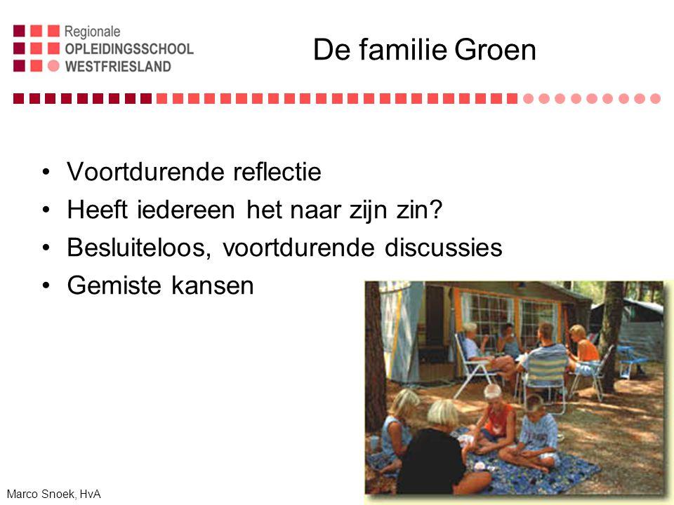 De familie Groen Voortdurende reflectie Heeft iedereen het naar zijn zin.
