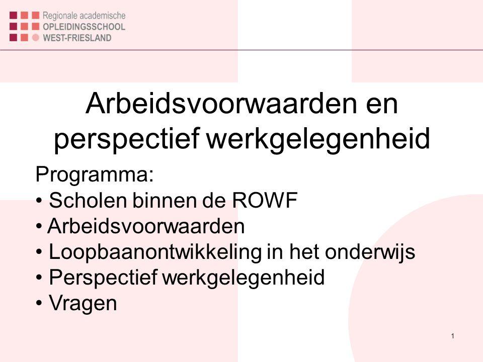 1 Arbeidsvoorwaarden en perspectief werkgelegenheid Programma: Scholen binnen de ROWF Arbeidsvoorwaarden Loopbaanontwikkeling in het onderwijs Perspec