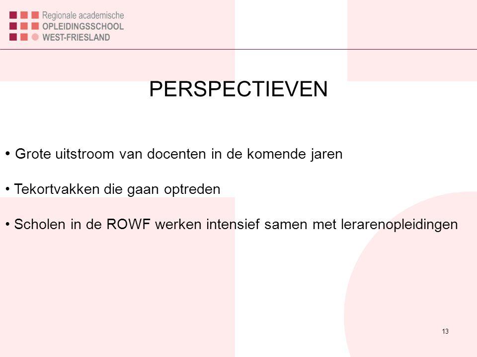 PERSPECTIEVEN 13 Grote uitstroom van docenten in de komende jaren Tekortvakken die gaan optreden Scholen in de ROWF werken intensief samen met leraren
