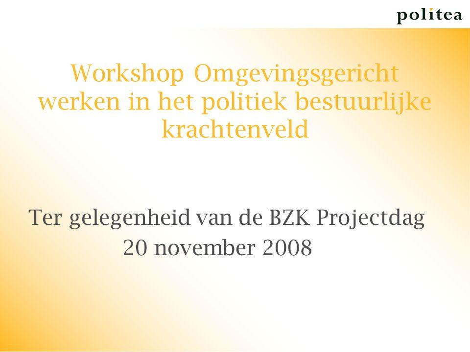 Workshop Omgevingsgericht werken in het politiek bestuurlijke krachtenveld Ter gelegenheid van de BZK Projectdag 20 november 2008