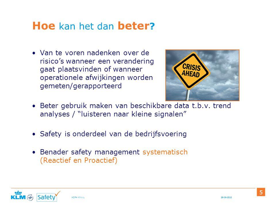 15-06-2012AOPA KNVvL 5 Hoe kan het dan beter ? Van te voren nadenken over de risico's wanneer een verandering gaat plaatsvinden of wanneer operationel