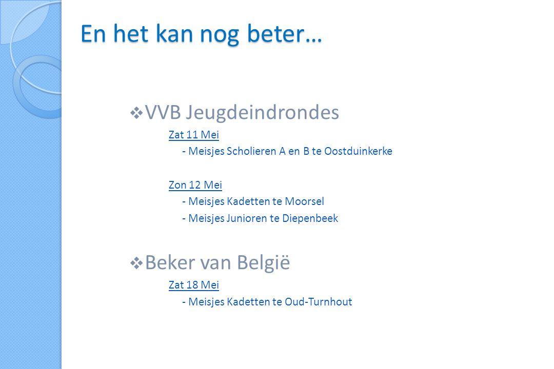  VVB Jeugdeindrondes Zat 11 Mei - Meisjes Scholieren A en B te Oostduinkerke Zon 12 Mei - Meisjes Kadetten te Moorsel - Meisjes Junioren te Diepenbeek  Beker van België Zat 18 Mei - Meisjes Kadetten te Oud-Turnhout En het kan nog beter…