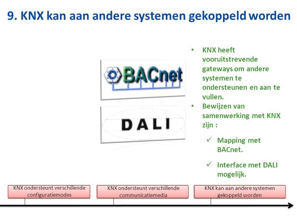 9. KNX kan aan andere systemen gekoppeld worden KNX heeft vooruitstrevende gateways om andere systemen te ondersteunen en aan te vullen. Bewijzen van