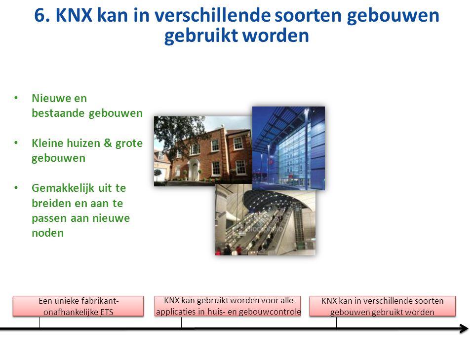 Nieuwe en bestaande gebouwen Kleine huizen & grote gebouwen Gemakkelijk uit te breiden en aan te passen aan nieuwe noden 6. KNX kan in verschillende s