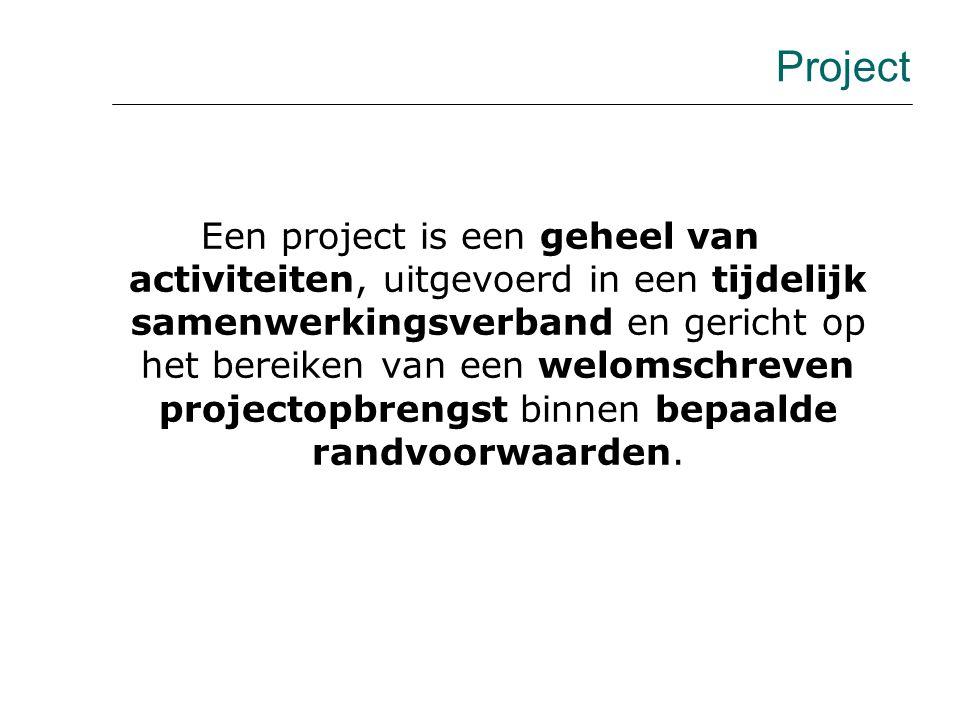 PROJECT- OMGEVING PROJECT- MANAGEMENT PROJECT- UITVOERING projectwereld Besturingsparadigma