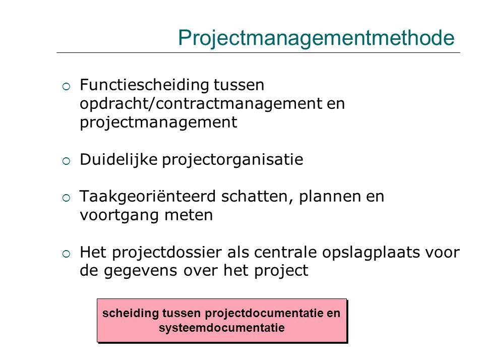  Functiescheiding tussen opdracht/contractmanagement en projectmanagement  Duidelijke projectorganisatie  Taakgeoriënteerd schatten, plannen en voo