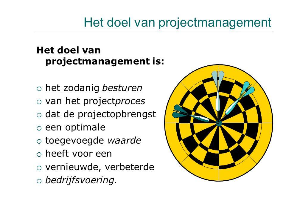 Het doel van projectmanagement is:  het zodanig besturen  van het projectproces  dat de projectopbrengst  een optimale  toegevoegde waarde  heef