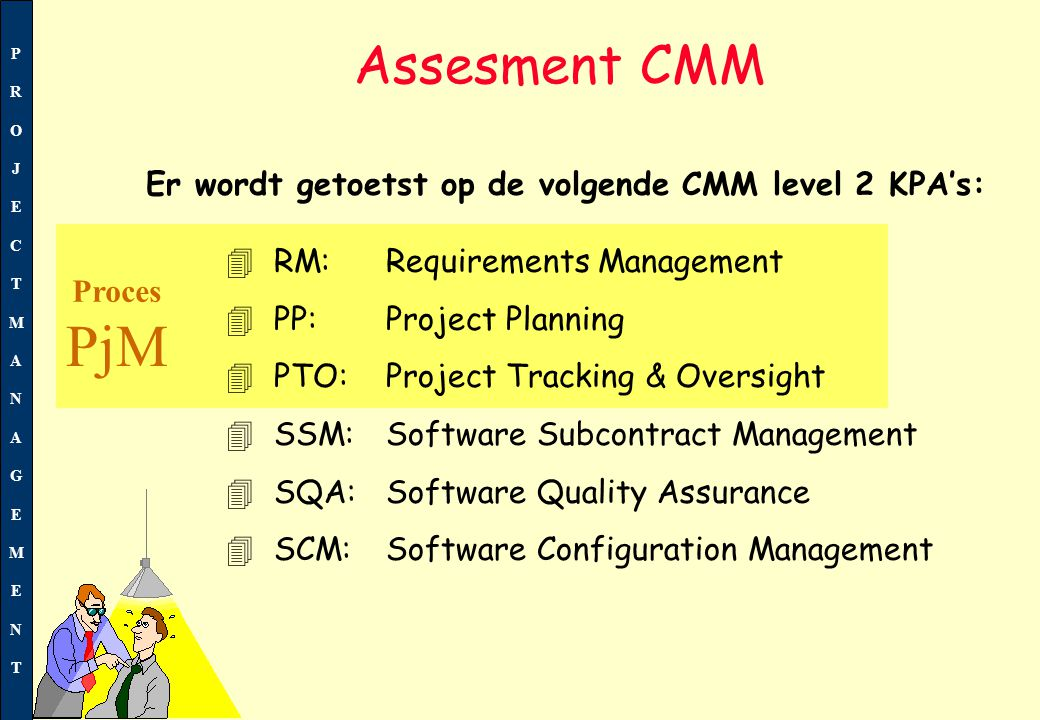 PROJECTMANAGEMENTPROJECTMANAGEMENT 4 RM:Requirements Management 4 PP: Project Planning 4 PTO: Project Tracking & Oversight 4 SSM:Software Subcontract
