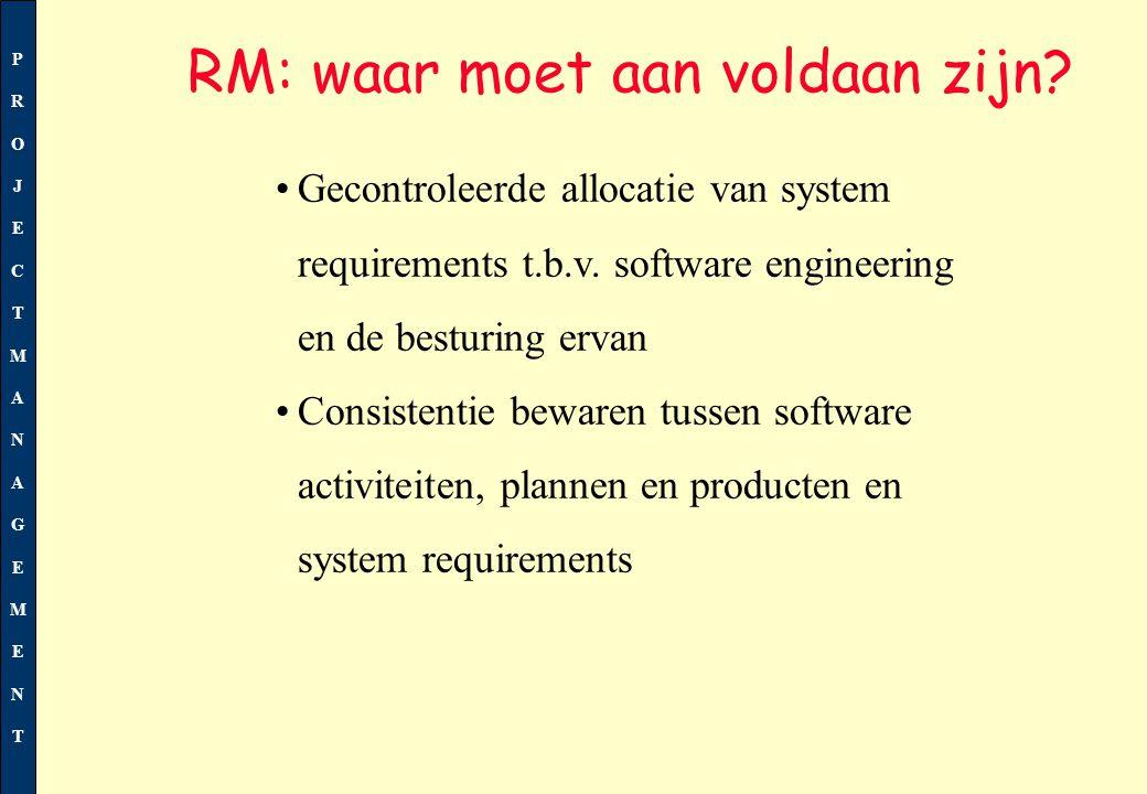 PROJECTMANAGEMENTPROJECTMANAGEMENT Ramingen/schattingen worden vastgelegd, t.b.v.