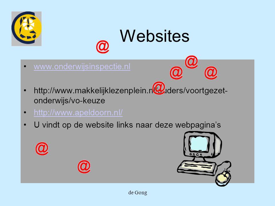 de Gong Websites www.onderwijsinspectie.nl http://www.makkelijklezenplein.nl/ouders/voortgezet- onderwijs/vo-keuze http://www.apeldoorn.nl/ U vindt op de website links naar deze webpagina's