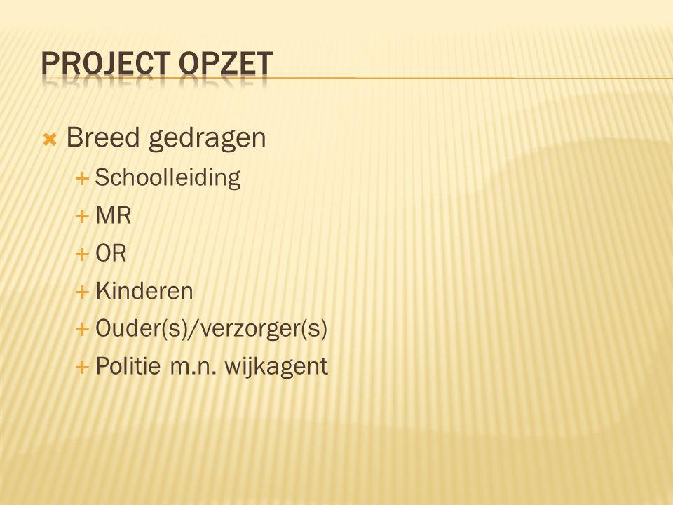  Breed gedragen  Schoolleiding  MR  OR  Kinderen  Ouder(s)/verzorger(s)  Politie m.n.
