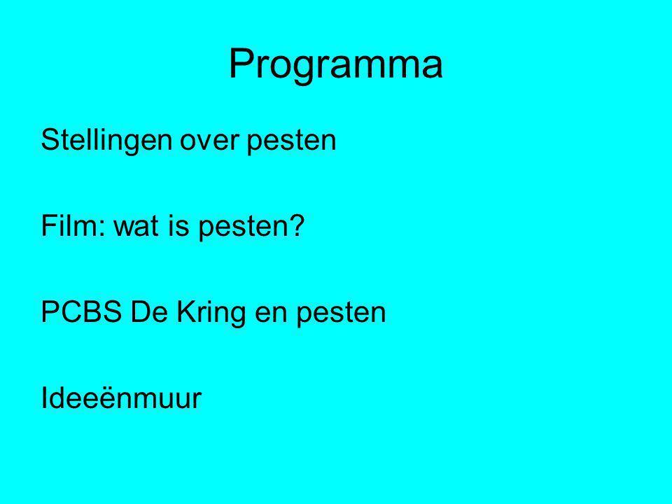 Programma Stellingen over pesten Film: wat is pesten PCBS De Kring en pesten Ideeënmuur