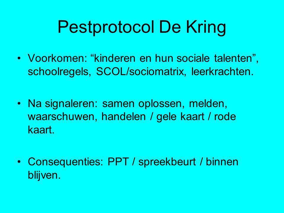 Pestprotocol De Kring Voorkomen: kinderen en hun sociale talenten , schoolregels, SCOL/sociomatrix, leerkrachten.