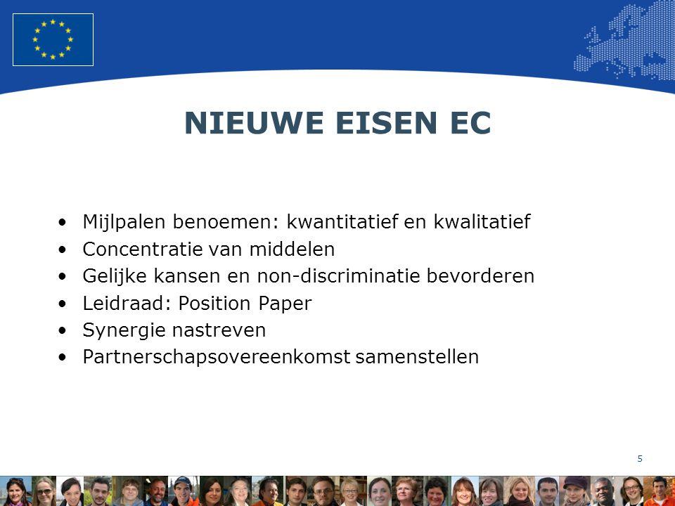 5 European Union Regional Policy – Employment, Social Affairs and Inclusion NIEUWE EISEN EC Mijlpalen benoemen: kwantitatief en kwalitatief Concentratie van middelen Gelijke kansen en non-discriminatie bevorderen Leidraad: Position Paper Synergie nastreven Partnerschapsovereenkomst samenstellen