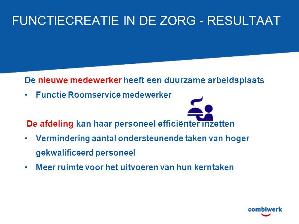 FUNCTIECREATIE IN DE ZORG - RESULTAAT De nieuwe medewerker heeft een duurzame arbeidsplaats Functie Roomservice medewerker De afdeling kan haar person