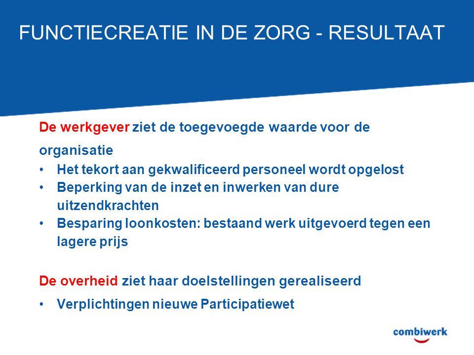 FUNCTIECREATIE IN DE ZORG - RESULTAAT De werkgever ziet de toegevoegde waarde voor de organisatie Het tekort aan gekwalificeerd personeel wordt opgelo
