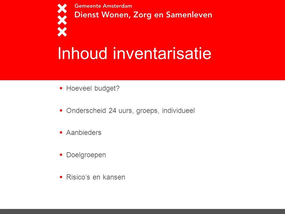 Inhoud inventarisatie  Hoeveel budget?  Onderscheid 24 uurs, groeps, individueel  Aanbieders  Doelgroepen  Risico's en kansen