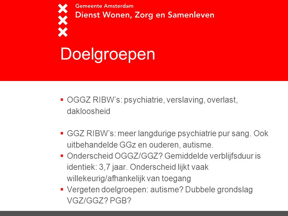 Doelgroepen  OGGZ RIBW's: psychiatrie, verslaving, overlast, dakloosheid  GGZ RIBW's: meer langdurige psychiatrie pur sang. Ook uitbehandelde GGz en
