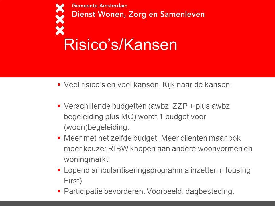 R Risico's/Kansen  Veel risico's en veel kansen. Kijk naar de kansen:  Verschillende budgetten (awbz ZZP + plus awbz begeleiding plus MO) wordt 1 bu