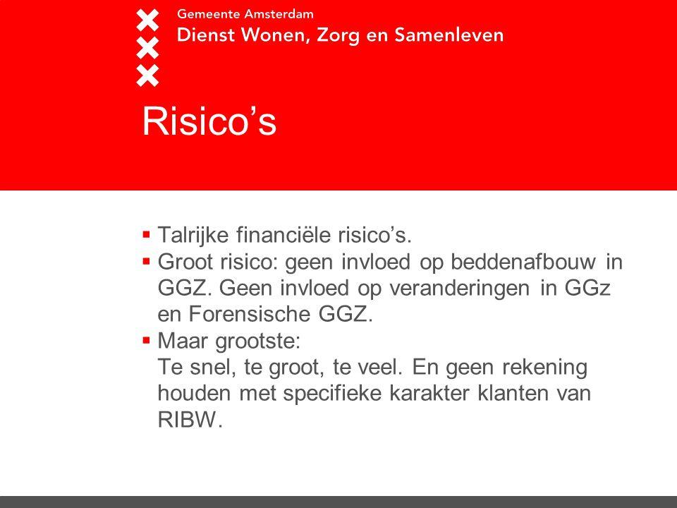 Risico's  Talrijke financiële risico's.  Groot risico: geen invloed op beddenafbouw in GGZ. Geen invloed op veranderingen in GGz en Forensische GGZ.