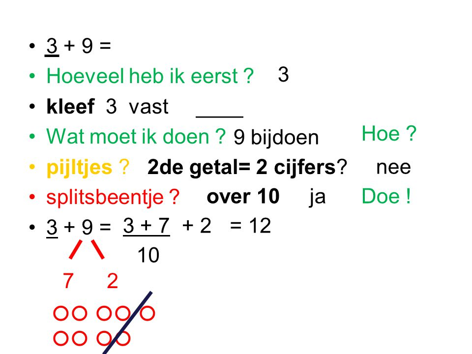3 + 9 = Hoeveel heb ik eerst .kleef 3 vast ____ Wat moet ik doen .