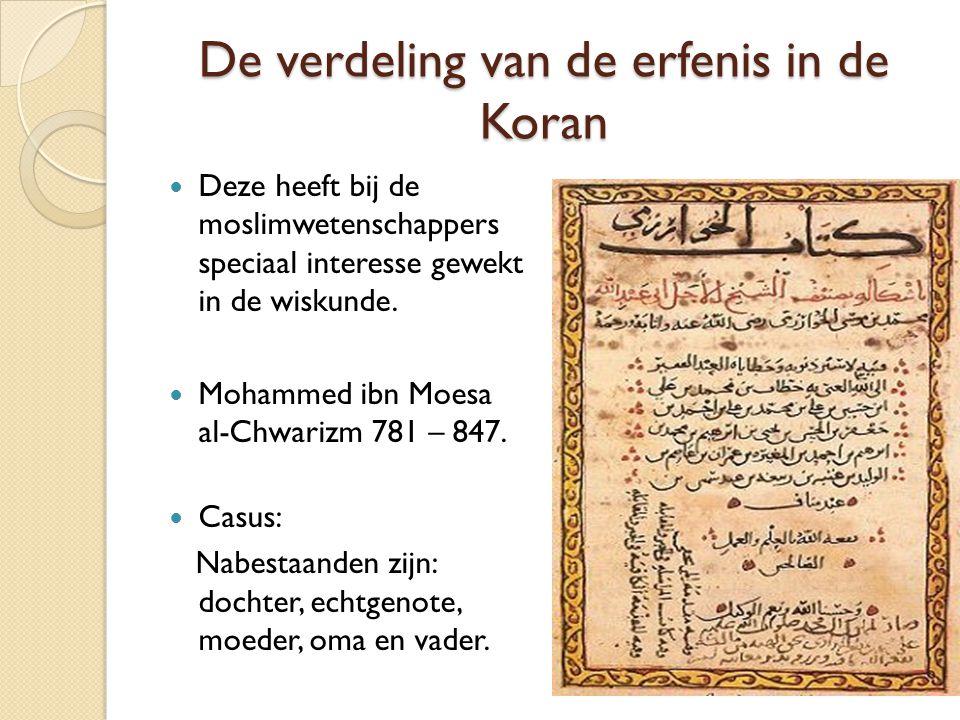De verdeling van de erfenis in de Koran Deze heeft bij de moslimwetenschappers speciaal interesse gewekt in de wiskunde. Mohammed ibn Moesa al-Chwariz