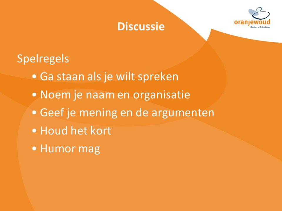 Discussie Spelregels Ga staan als je wilt spreken Noem je naam en organisatie Geef je mening en de argumenten Houd het kort Humor mag