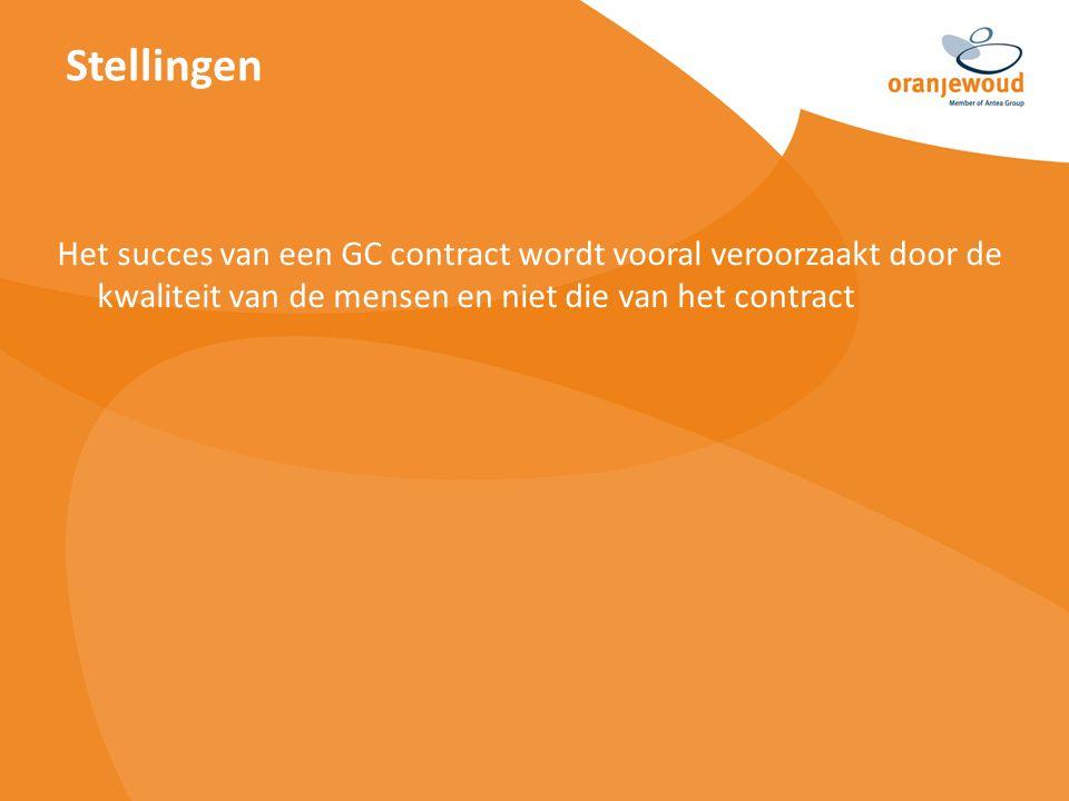 Het succes van een GC contract wordt vooral veroorzaakt door de kwaliteit van de mensen en niet die van het contract Stellingen