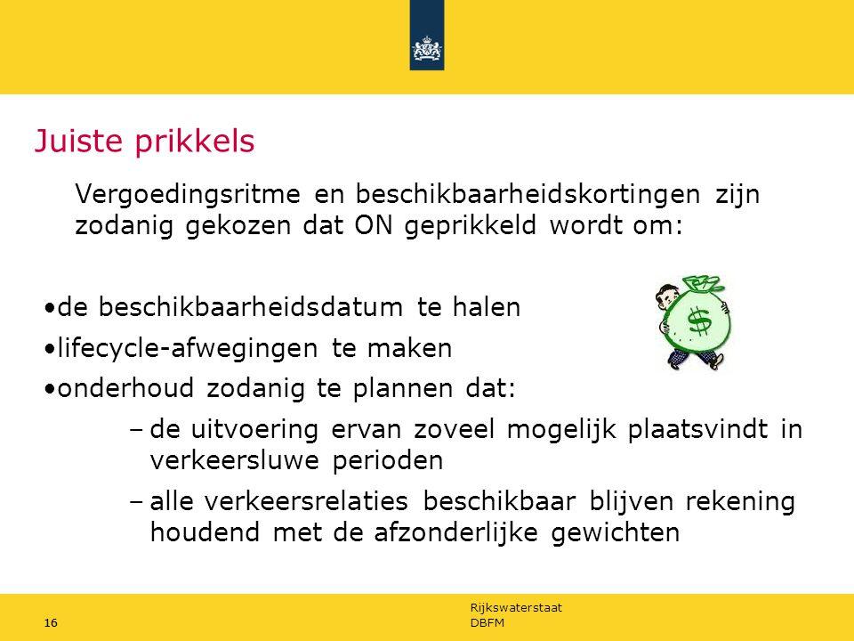 Rijkswaterstaat 16DBFM16 Juiste prikkels Vergoedingsritme en beschikbaarheidskortingen zijn zodanig gekozen dat ON geprikkeld wordt om: de beschikbaar