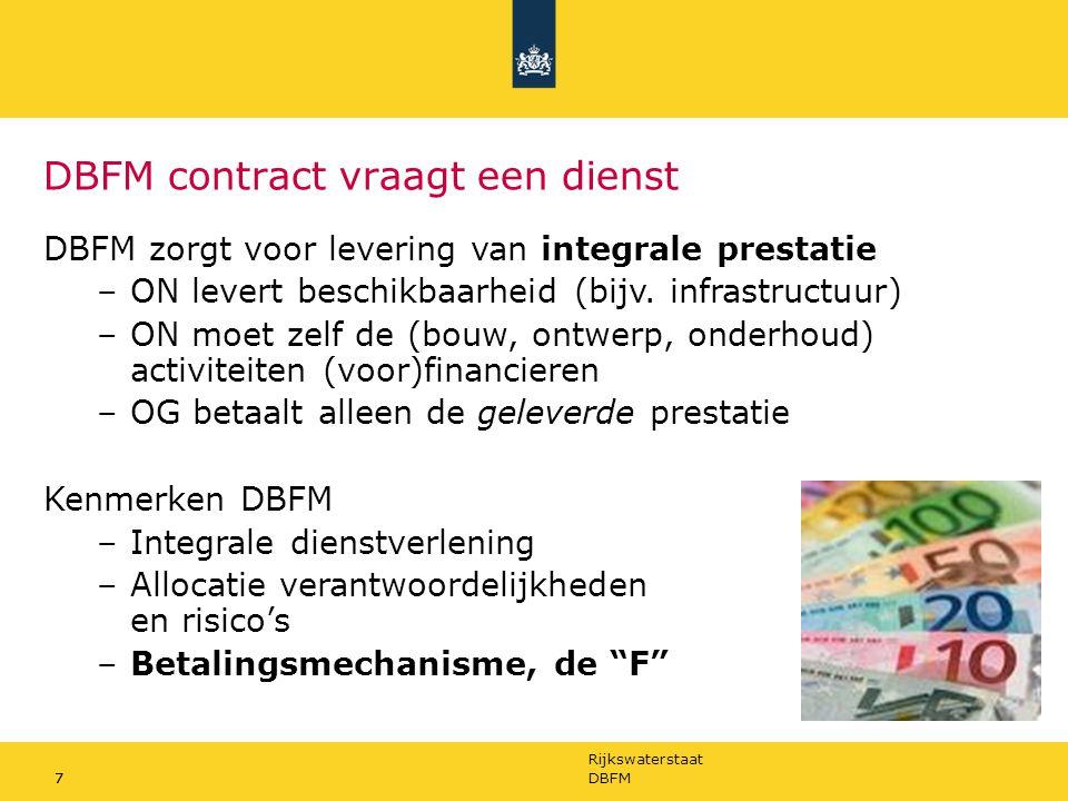 Rijkswaterstaat 7DBFM7 DBFM contract vraagt een dienst DBFM zorgt voor levering van integrale prestatie –ON levert beschikbaarheid (bijv. infrastructu
