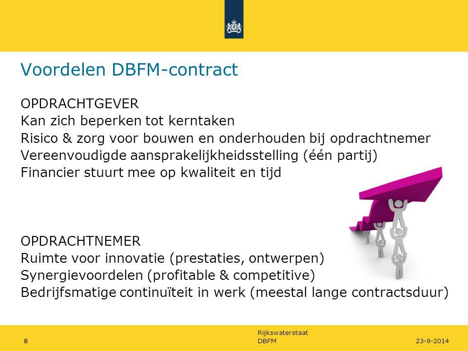 Rijkswaterstaat 8DBFM823-9-2014 Voordelen DBFM-contract OPDRACHTGEVER Kan zich beperken tot kerntaken Risico & zorg voor bouwen en onderhouden bij opd