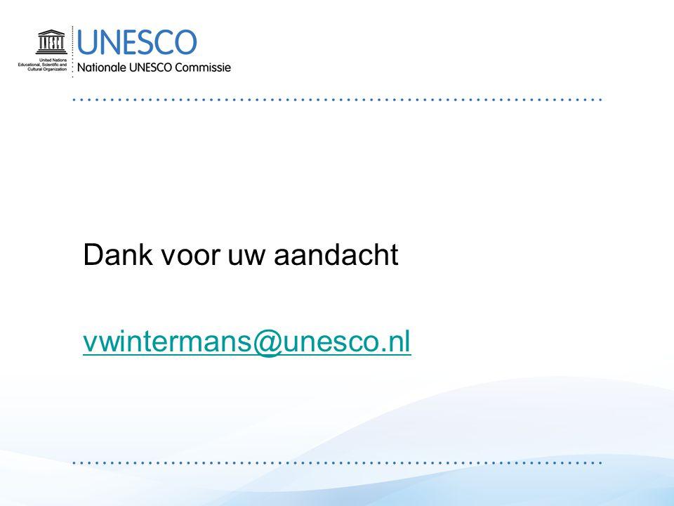 Dank voor uw aandacht vwintermans@unesco.nl