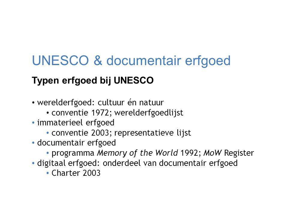 UNESCO & documentair erfgoed Typen erfgoed bij UNESCO werelderfgoed: cultuur én natuur conventie 1972; werelderfgoedlijst immaterieel erfgoed conventi