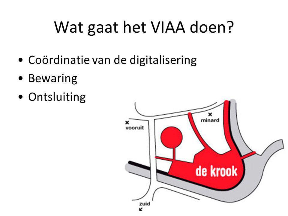 Wat gaat het VIAA doen Coördinatie van de digitalisering Bewaring Ontsluiting
