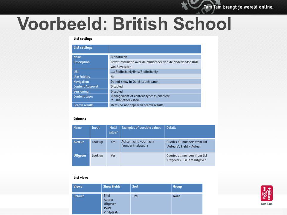 Voorbeeld: British School
