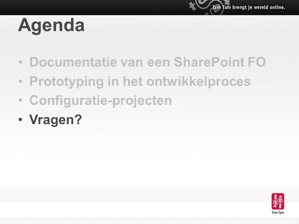 Agenda Documentatie van een SharePoint FO Prototyping in het ontwikkelproces Configuratie-projecten Vragen?