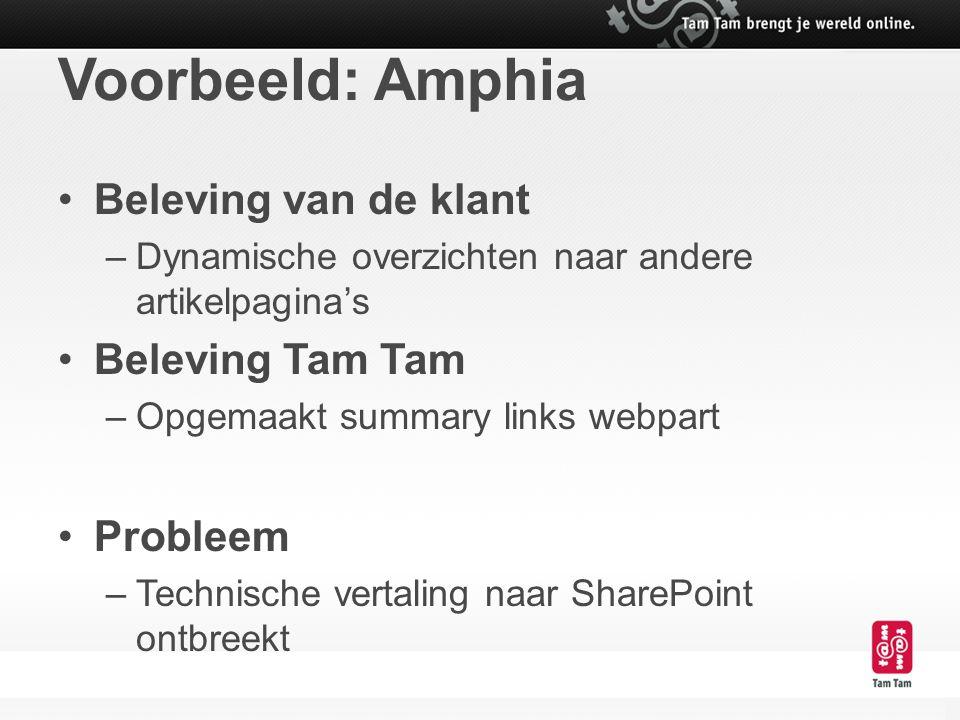 Voorbeeld: Amphia Beleving van de klant –Dynamische overzichten naar andere artikelpagina's Beleving Tam Tam –Opgemaakt summary links webpart Probleem