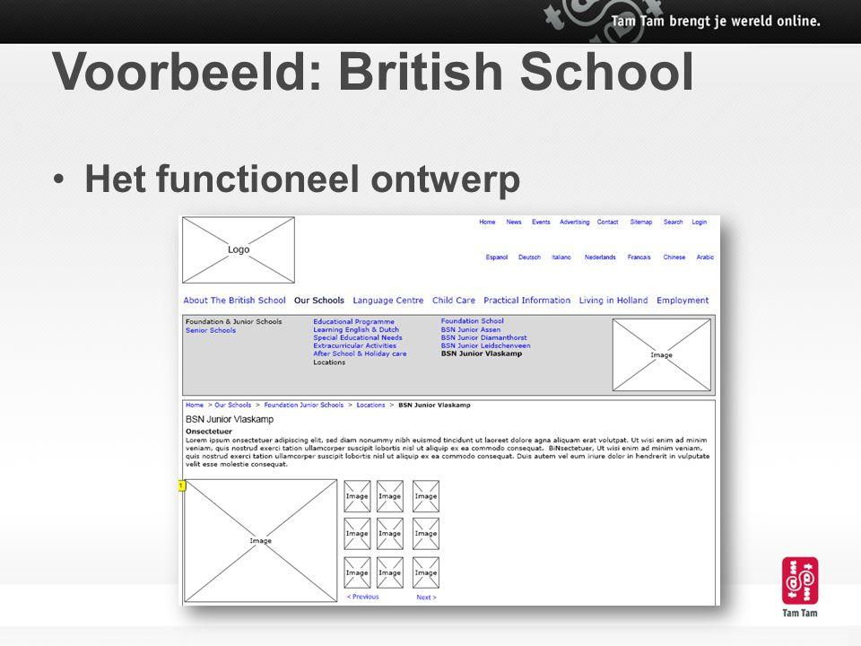 Voorbeeld: British School Het functioneel ontwerp