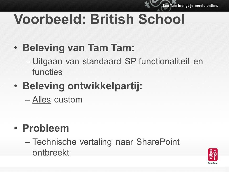 Voorbeeld: British School Beleving van Tam Tam: –Uitgaan van standaard SP functionaliteit en functies Beleving ontwikkelpartij: –Alles custom Probleem