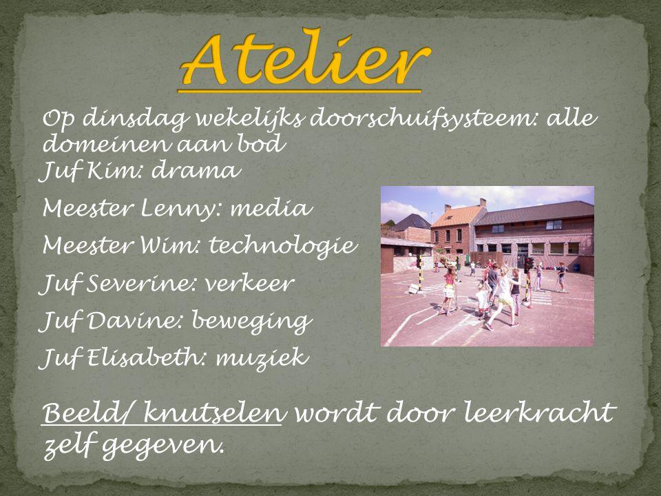 Op dinsdag wekelijks doorschuifsysteem: alle domeinen aan bod Juf Kim: drama Meester Lenny: media Meester Wim: technologie Juf Severine: verkeer Juf D