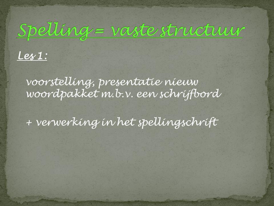 Les 1: voorstelling, presentatie nieuw woordpakket m.b.v. een schrijfbord + verwerking in het spellingschrift