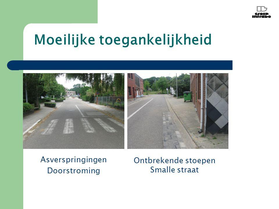 Moeilijke toegankelijkheid Asverspringingen Doorstroming Ontbrekende stoepen Smalle straat