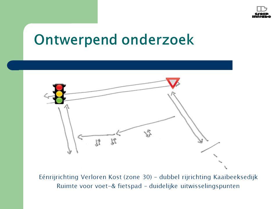 Ontwerpend onderzoek Eénrijrichting Verloren Kost (zone 30) – dubbel rijrichting Kaaibeeksedijk Ruimte voor voet-& fietspad – duidelijke uitwisselingspunten