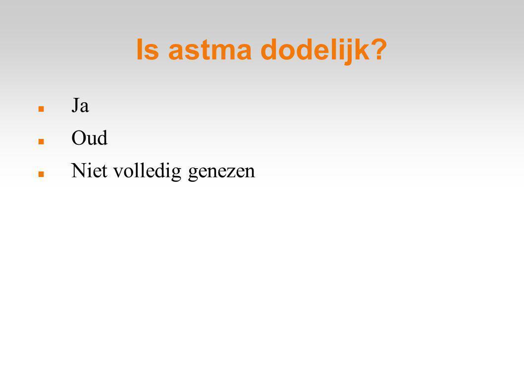 Is astma dodelijk? Ja Oud Niet volledig genezen