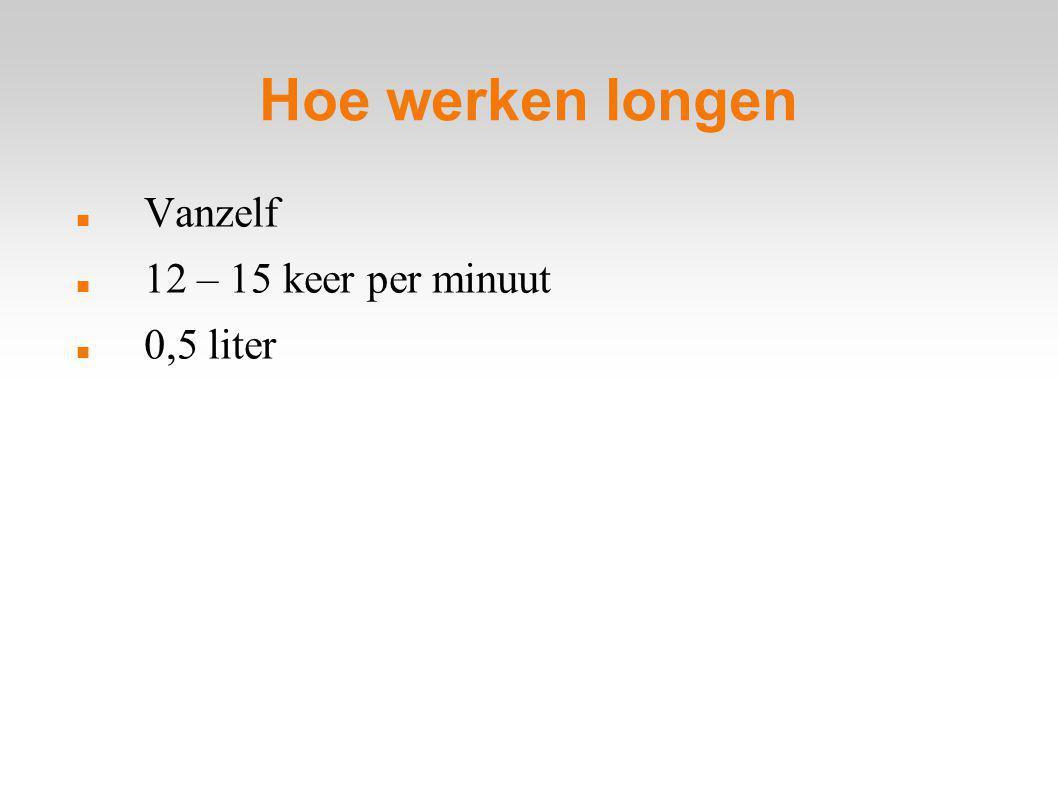 Hoe werken longen Vanzelf 12 – 15 keer per minuut 0,5 liter