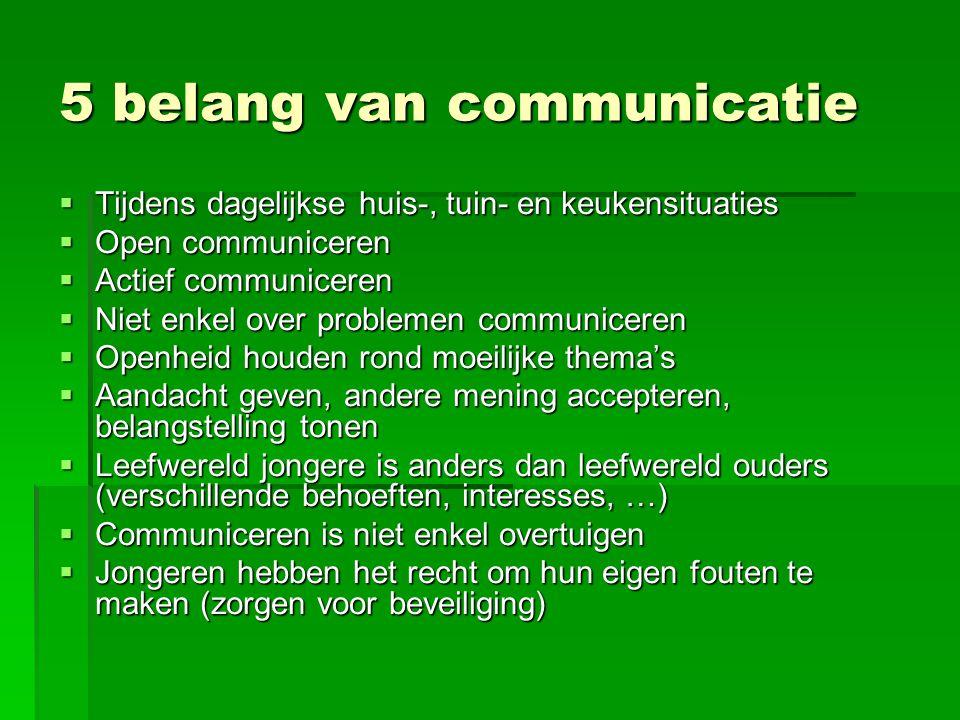  Tijdens dagelijkse huis-, tuin- en keukensituaties  Open communiceren  Actief communiceren  Niet enkel over problemen communiceren  Openheid hou