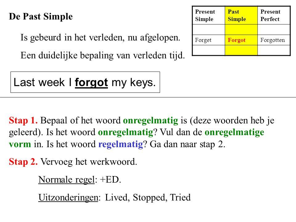 De Past Simple Is gebeurd in het verleden, nu afgelopen. Een duidelijke bepaling van verleden tijd. Last week I forgot my keys. Present Simple Past Si