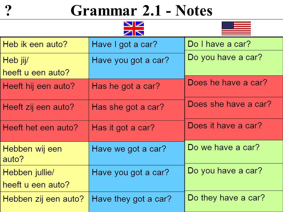 Grammar 2.1 - Notes Heb ik een auto?Have I got a car.