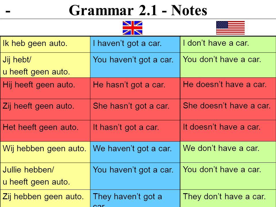 Grammar 2.1 - Notes Ik heb geen auto.I haven't got a car.